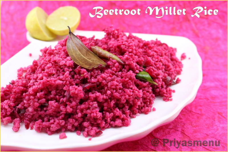Priyas menu yum yum yummy food for food lovers beetroot millet healthy and tasty lunch box recipe prepared using millet and beetroot with a mild tangy taste because of the addition of lemon juice forumfinder Choice Image