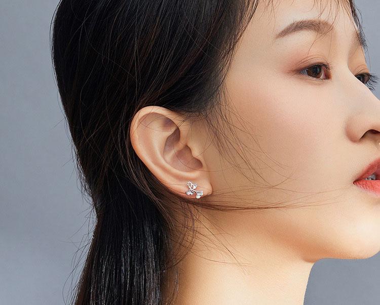 優美銀杏 925純銀耳環