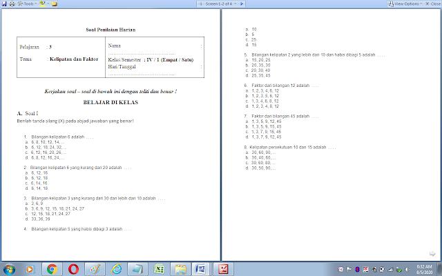 Soal ulangan harian matematika kelas 4 sd: kelipatan dan faktor