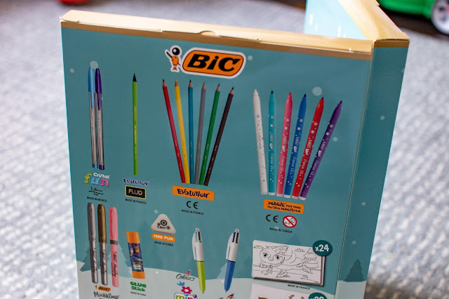 Image showing the 2021 BIC advent calendar standing up and all the stationery that is on the back