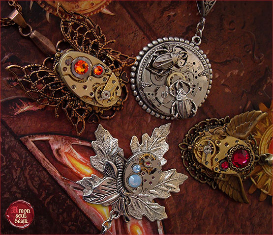 collier steampunk ailes de papillon cuivre bronze chronos necklace clock clockwork watchwork jewelry filigree butterfly copper bronze wings vaporiste retrofuturisme