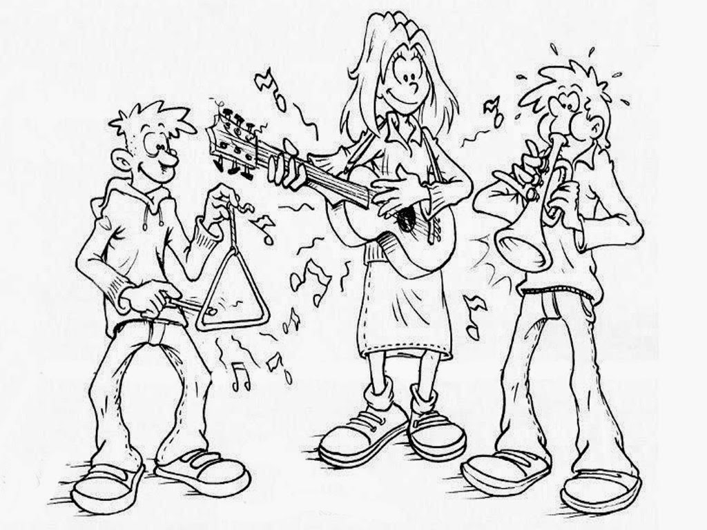three musicians coloring page