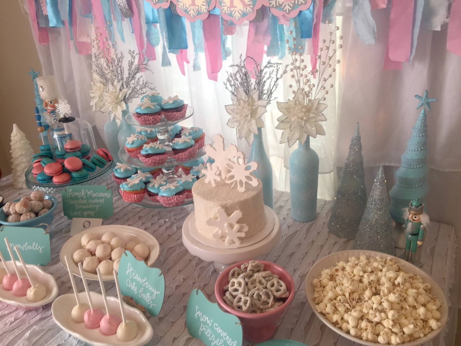 Winter ONEderland 1st Birthday Party Decoration Ideas Food Table Backdrop And Decorations Hot Chocolate