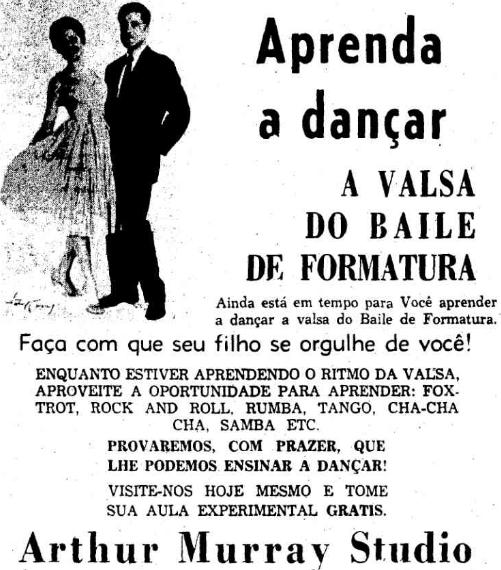 Propaganda antiga veiculada nos anos 50 com curso de dança para formandos