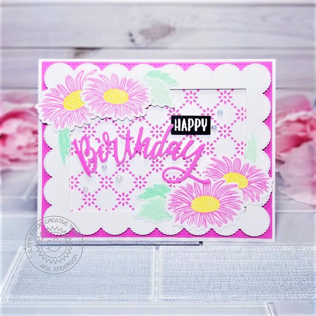 Sunny Studio Stamps: Frilly Frame Dies Cheerful Daisies Blooming Frame Dies Birthday Card by Ana Anderson