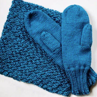 blue hand knitted cowl scarf and mittens set