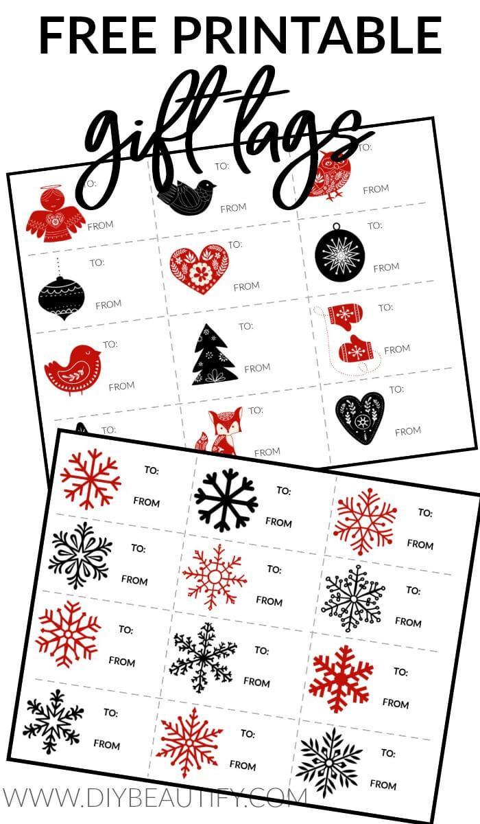 printable Nordic snowflakes gift tags