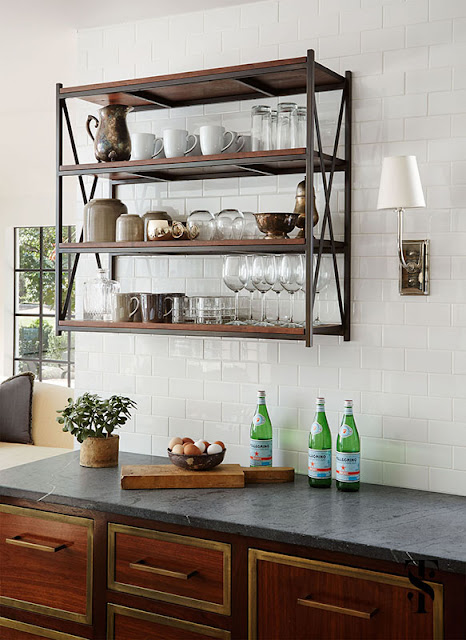 Classic Decor in kitchen of French Tudor Renovation by Summer Thornton
