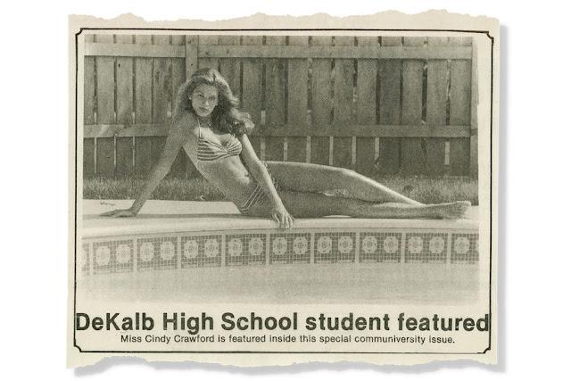 Cindy Crawford foto para o jornal da escola aos 16 anos