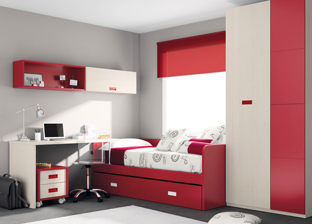 Habitacion juvenil con cama nido roja y blancala mesa de