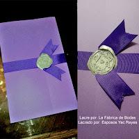Venta de sellos de lacre con grabado en liston morado para tarjeta de bodas venta fabricante