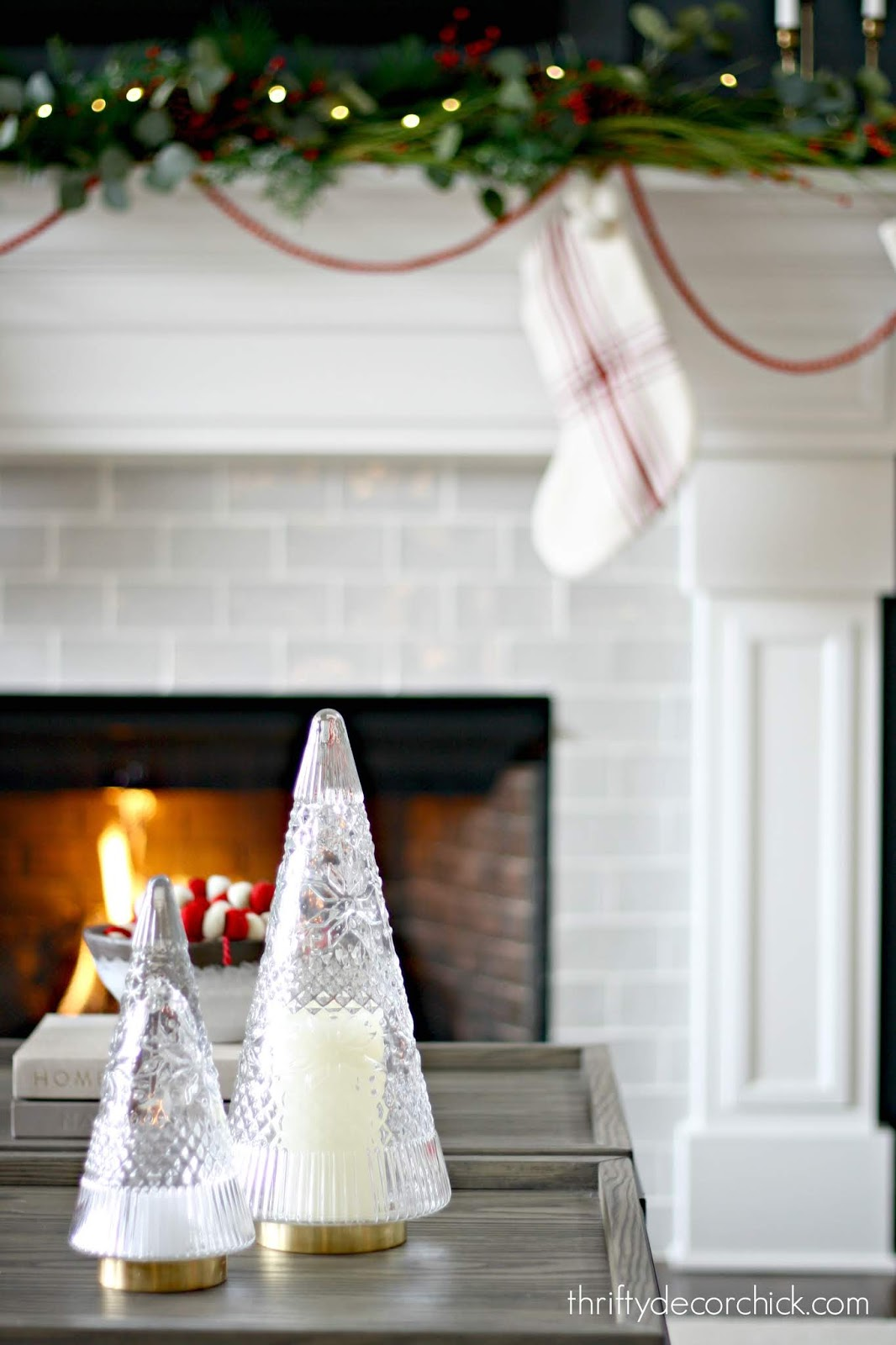 Glass Christmas tree candle holders