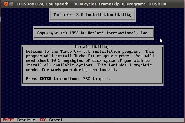 Turbo c++ on ubuntu using Dosbox | Solancer