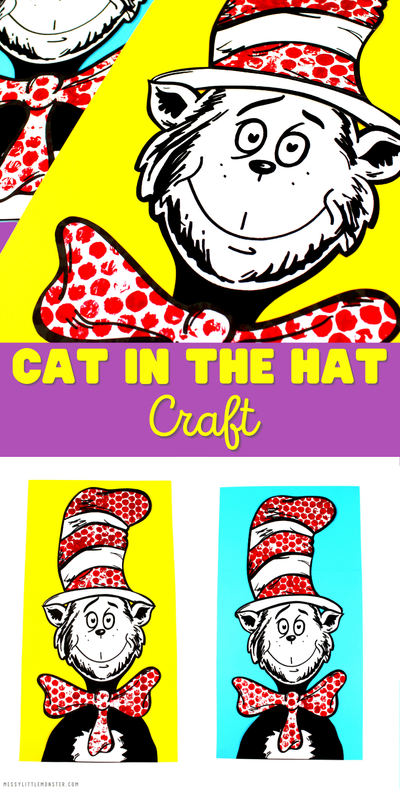 Cat in the hat craft. Printable Dr Seuss crafts for kids.