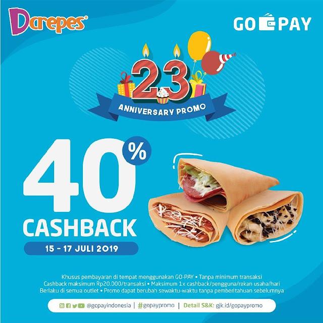 #Dcrepes - #Promo Anniversary Ke 23 Dapatkan Cashback 40% Pakai GOPAY (15 - 17 Juli 2019)