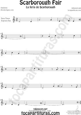 Partitura la feria de scarborough de Saxofón Soprano y Saxo Tenor Sheet Music for Soprano Sax and Tenor Saxophone Music Scores Scarborouh Fair