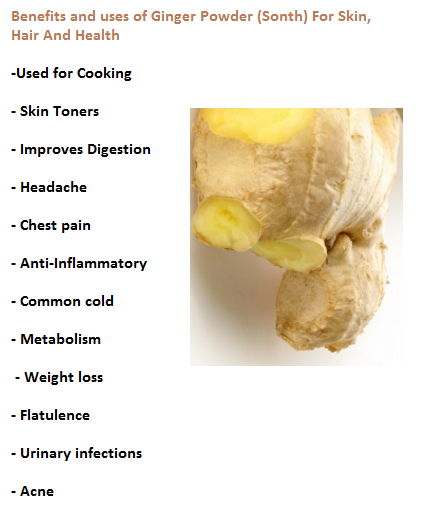 Benefits and uses of Ginger Powder (Sonth) For Skin, Hair And Health