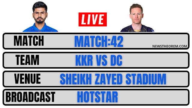 Kolkata VS DELHI , IPL MATCH 42