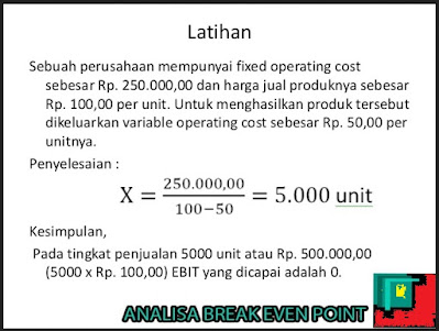 contoh soal Break event point