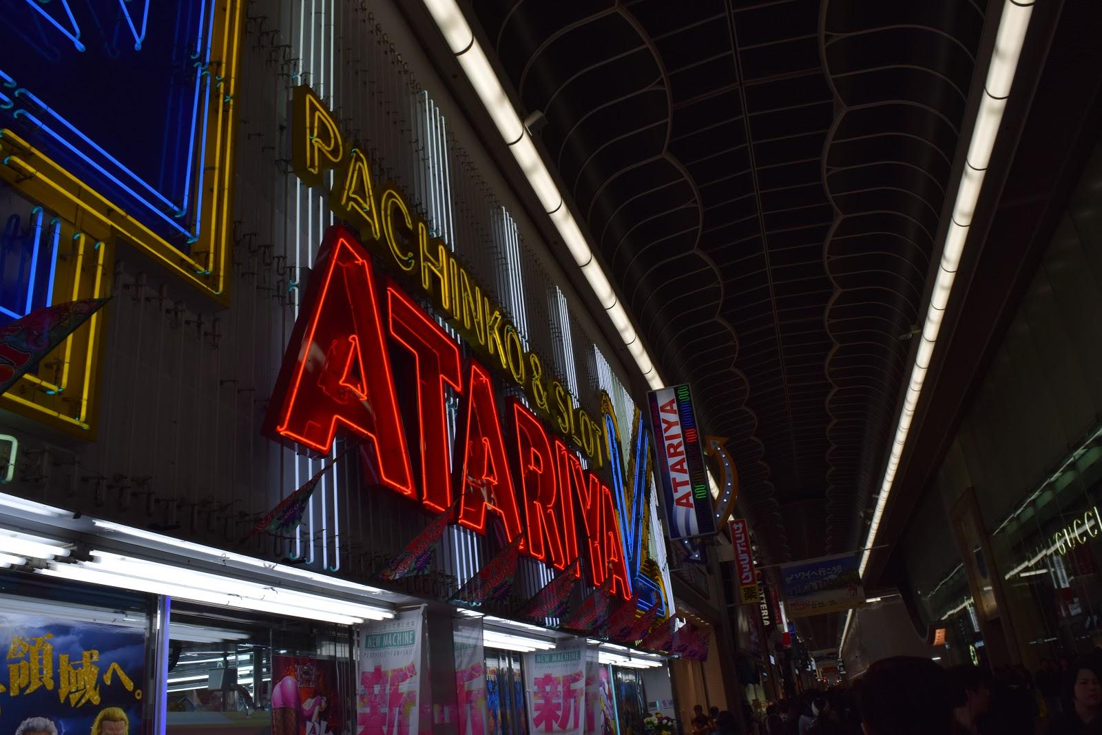 neon pachinko signs in namba, osaka