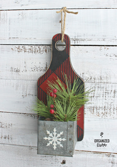 Thrift Shop Repurposed Cutting Board Christmas Decor www.organizedclutter.net