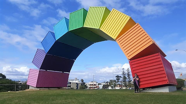 Rainbow Sea Container by Marcus Canning | Fremantle Public Art