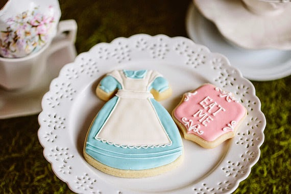 Alice in Wonderland Inspired Dress Cookies- 1 Dozen Cookie Favor, Baby Shower, Birthday Cookies