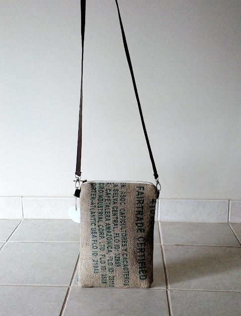 Fair Trade cross-body burlap zipper bag by Lina and Vi Plymouth Michigan | linaandvi.etsy.com