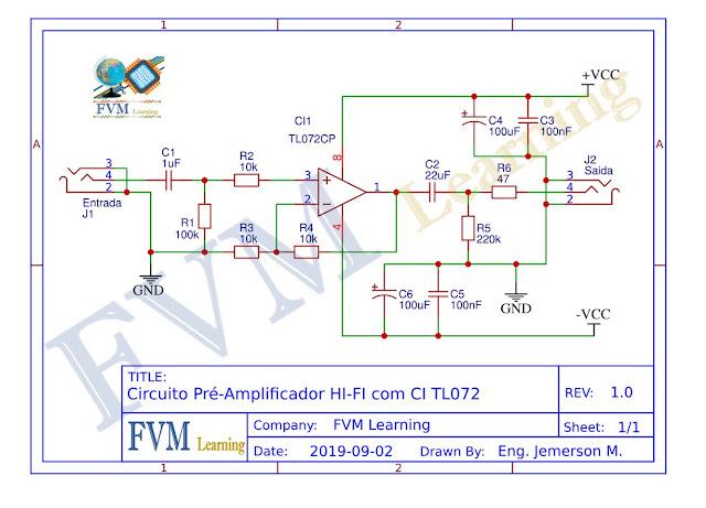 Circuito Pré-Amplificador HI-FI com CI TL072