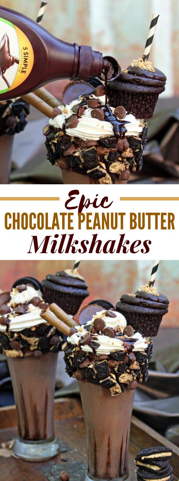 EPIC CHOCOLATE PEANUT BUTTER MILKSHAKES #drinks #smoothies