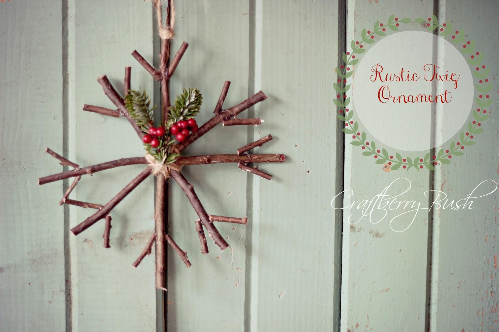 Handmade Christmas Ornament: Rustic Twig Snowflake ...