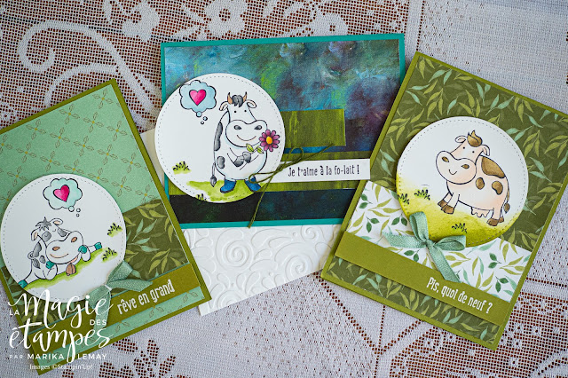 Trio de cartes Stampin' Up! fait avec le jeu Vachement bien