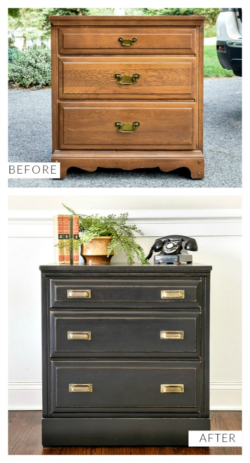 Before and after Goodwill dresser makeover