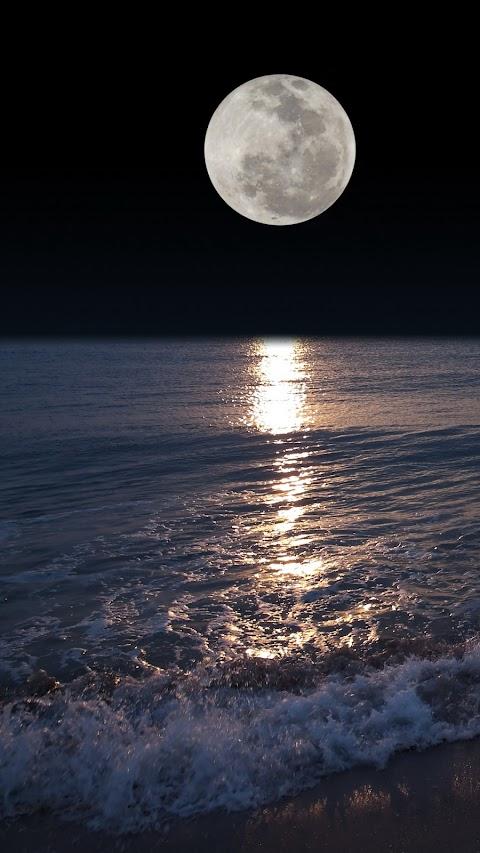 Hình Nền Phong Cảnh Mặt Trăng Tròn Trên Biển