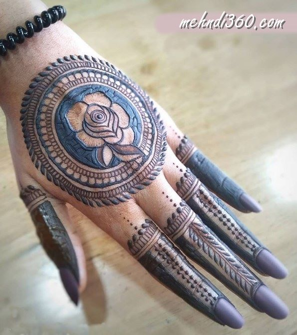 Rose Mehndi Design Back Hand