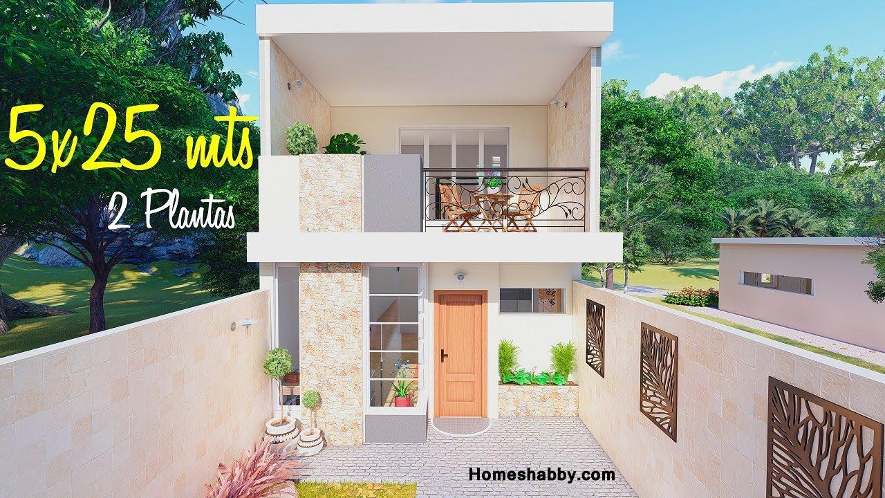 Desain Dan Denah Rumah Mungil 2 Lantai Ukuran 5 X 25 M Dengan Konsep Simple Tapi Mempesona Dan Hemat Biaya Homeshabby Com Design Home Plans Home Decorating And Interior Design