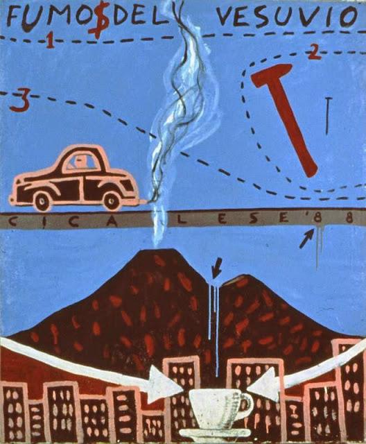 FUMO DEL VESUVIO (1988) smalto e olio su tela (120x100)