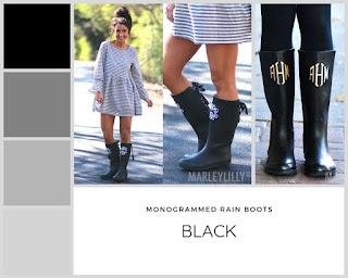 monogrammed black rain boots
