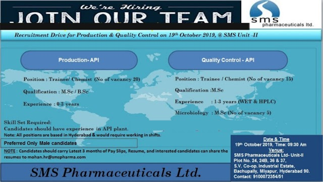 SMS Pharmaceuticals Ltd - Walk-In Drive for Multiple Positions (40 Vacancy) - Production / Quality Control on 19th Oct' 2019