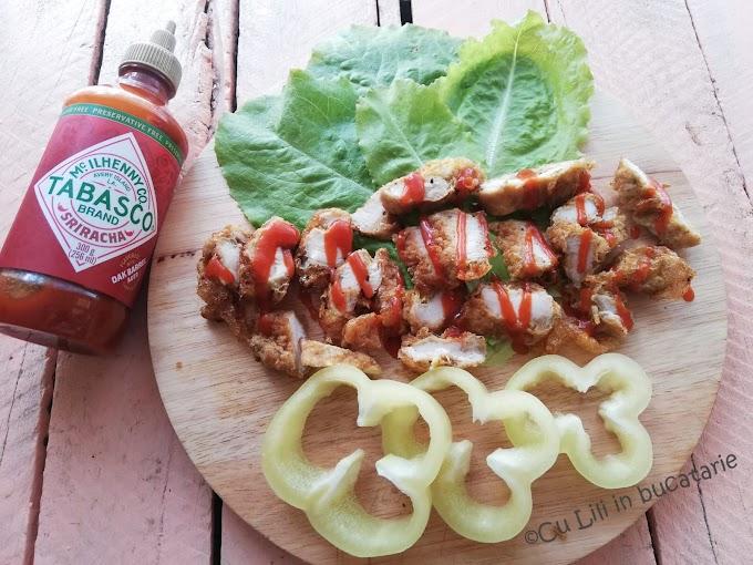 Mini șnițele de pui cu sos ardei chipotle- Tabasco