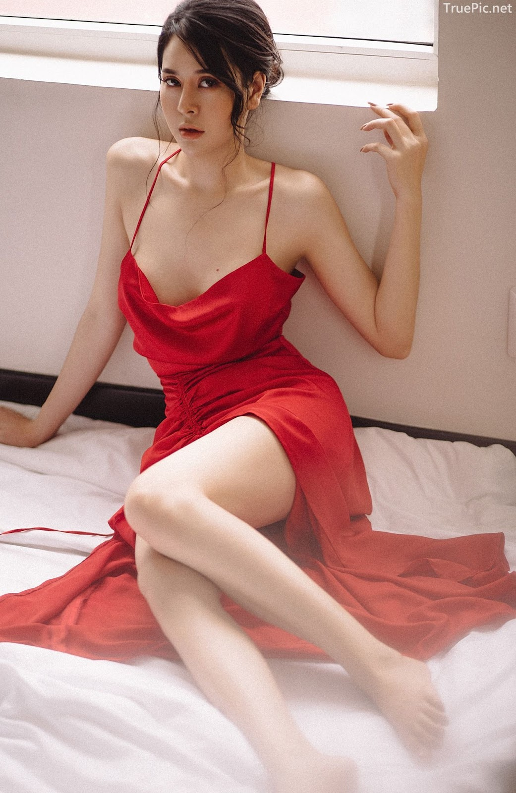 Vietnamese hot model - The beauty of Women with Red Camisole Dress - Photo by Linh Phan - Picture 10