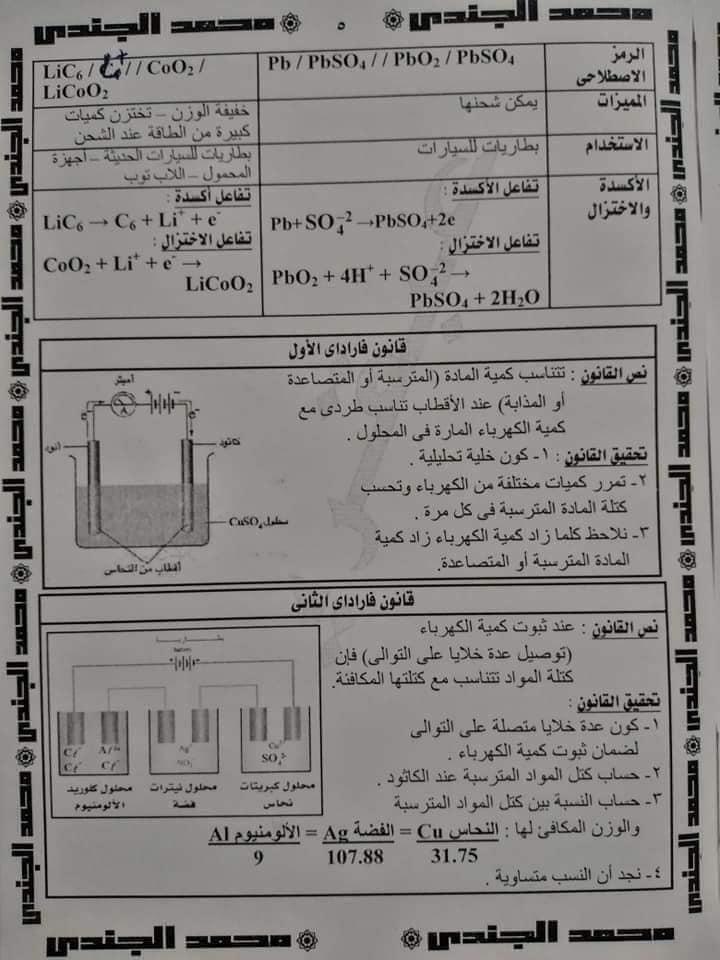 مراجعة الكيمياء للصف الثالث الثانوى |  تلخيص وملاحظات هامة في الكهربية  6