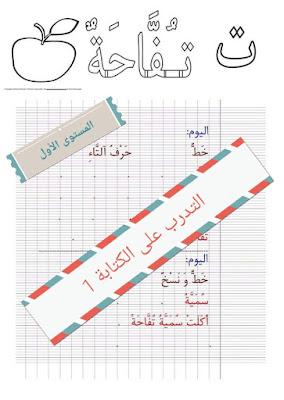 المستوى الأول:نماذج جميع الحروف من أجل التدرب على الخط والكتابة