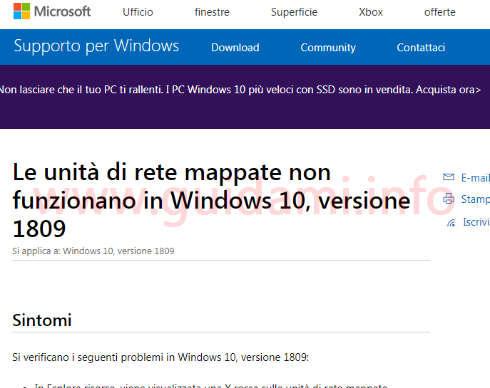 Pagina del sito di Supporto per Windows di Microsoft
