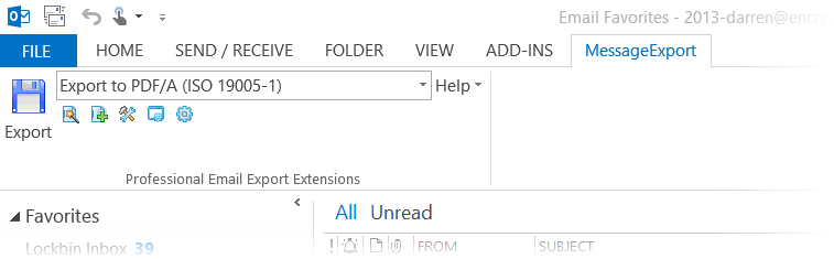Screen image of Outlook 2016 toolbar integrated with MessageExport add-in.