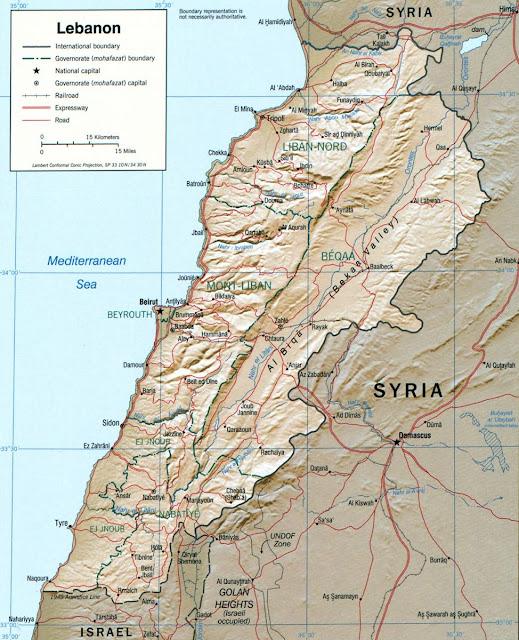 خريطة لبنان Lebanon Map