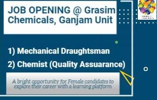 Grasim Chemicals, Aditya Birla Group Ganjam, Odisha Recruitment For Draughtsman Mechanical and Chemist