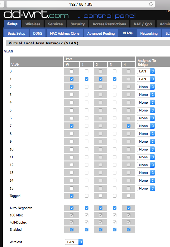 This diagram tags the VLAN trunk port and assigns the VLANs to their proper ports
