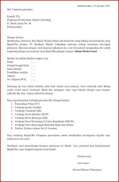 Contoh Application Letter Untuk Admin Media Sosial (Fresh Graduate) Berdasarkan Informasi Dari Seseorang