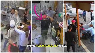(بالفيديو) عون أمن بالحرس الوطني بالعوينة يعتدي بالعنف الشديد بالمتراك على عامل بمقهى بمدينة منوبة